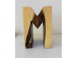 Lettre M en bois exotique