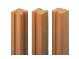 Poteau pour panneau clôture bois lames empilables Bangkiraï