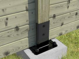 Pied carré pour poteau 91 x 91 mm