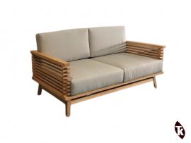 Sofa en Teck STRIPE - coussins gris