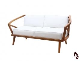 Sofa canapé en Teck BAYU - coussins blancs